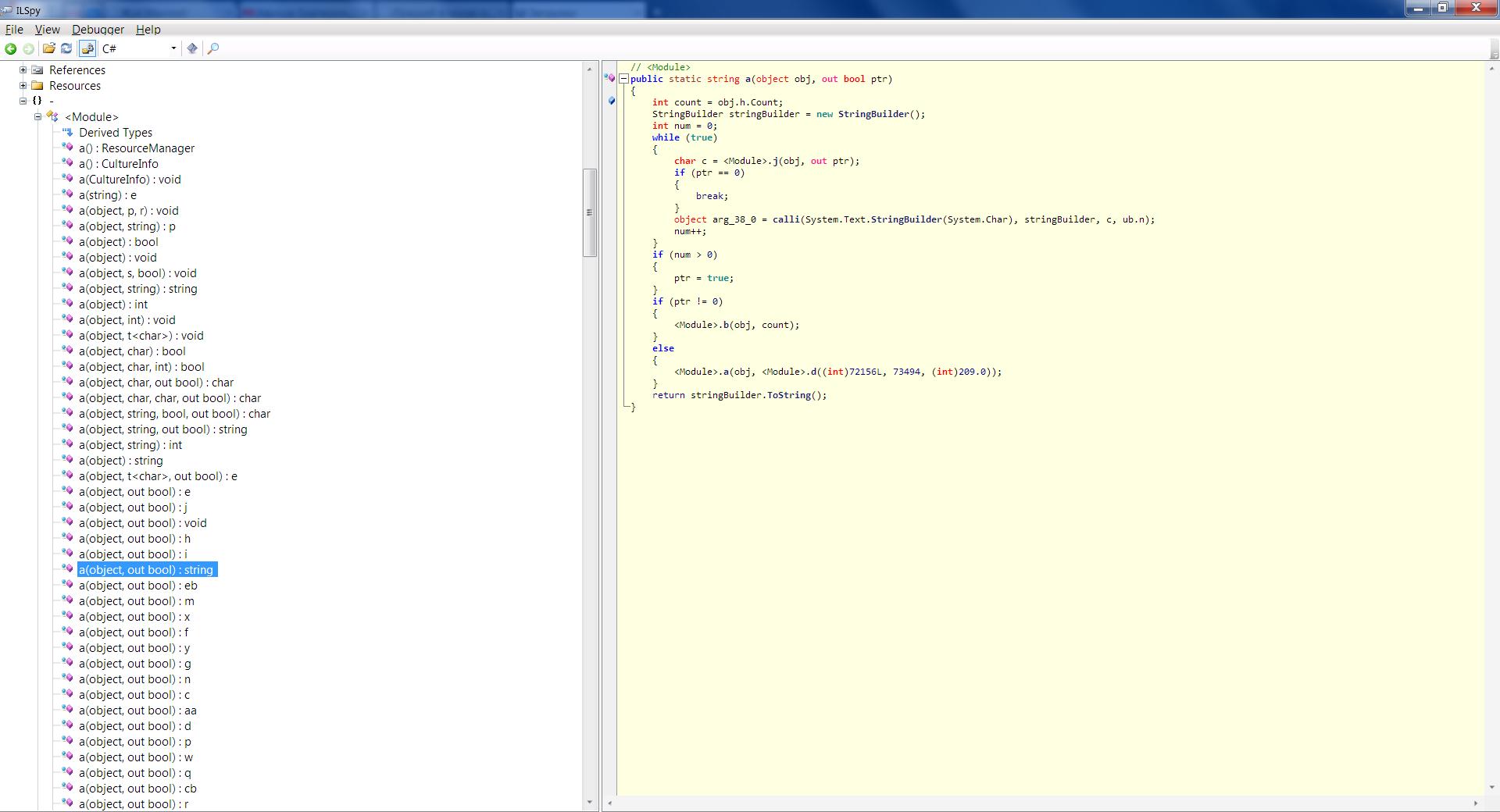 Результат обфускации .NET приложения